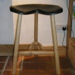 "A 'special' one-off 3"" pickled top bar stool. Very comfy!"