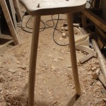 Stool in the making - no stretchers.